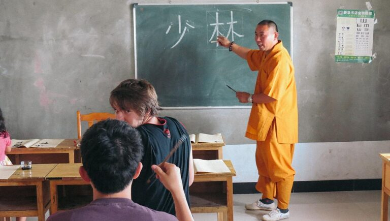 Chinese language and calligraphy classes at kung fu school in China