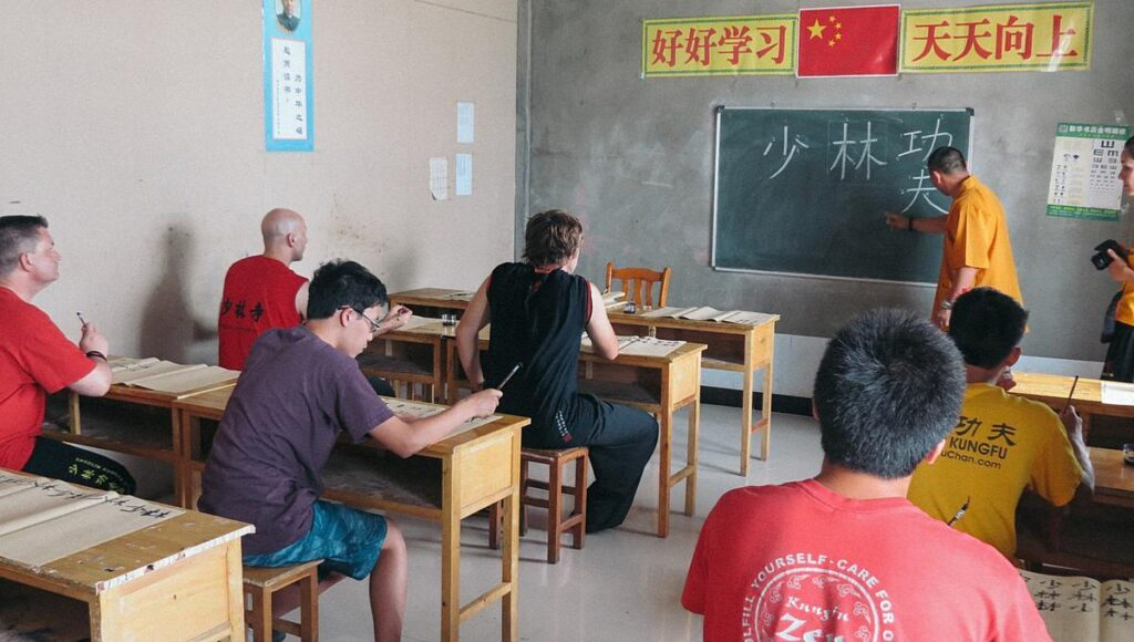 Chinese language and calligraphy classes at kung fu school in China 3
